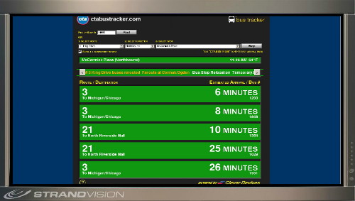 Real Time Bus Schedule captured by StrandVision Digital Signage every minute